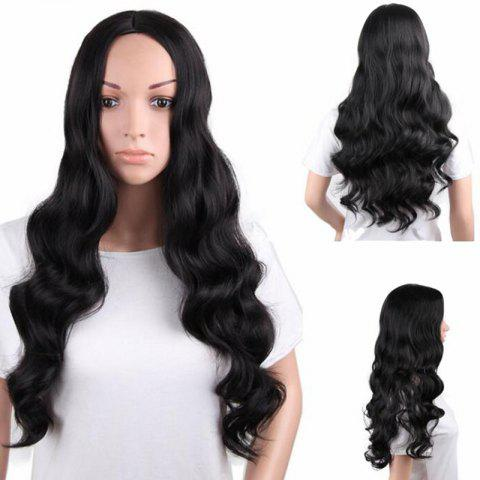 Best Long Center Parting Fluffy Body Wave Synthetic Wig - BLACK  Mobile