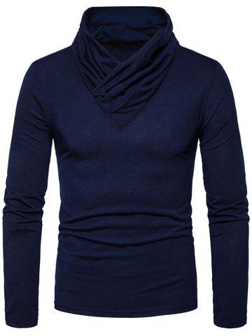 Shop Classical Cowl Neck Long Sleeve T-shirt - 2XL CADETBLUE Mobile