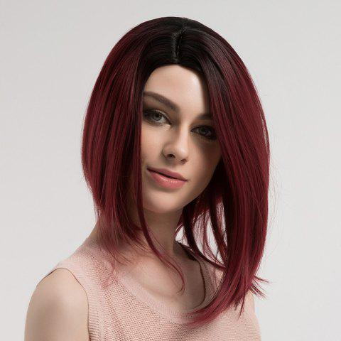 Outfits Side Parting Straight Short Bob Ombre Synthetic Wig DRAK WINE RED OMBRE