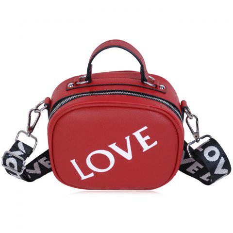 New Print Letter Faux Leather Crossbody Bag - RED  Mobile