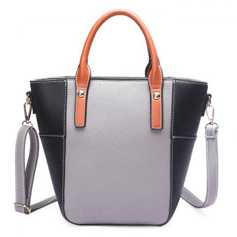 Unique Stitching Color Blocking Rivets Crossbody Bag GRAY