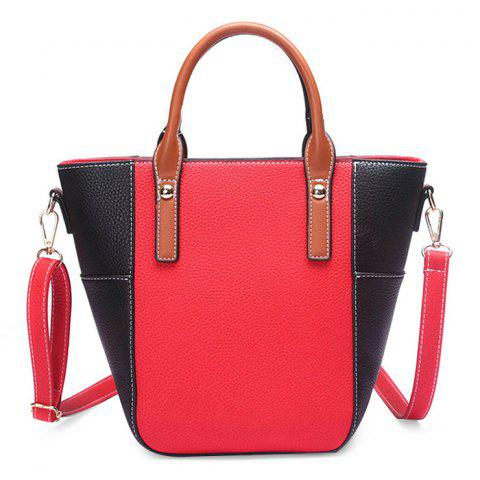 Trendy Stitching Color Blocking Rivets Crossbody Bag RED