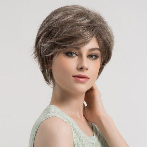Outfits Short Colormix Side Bang Fluffy Straight Syntheitc Wig - GREY WHITE  Mobile