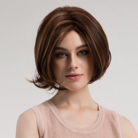 Outfits Center Parting Highlighted Slightly Curled Short Bob Synthetic Wig