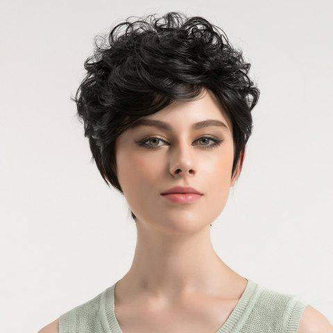 Unique Inclined Bang Shaggy Short Curly Synthetic Wig - BLACK  Mobile