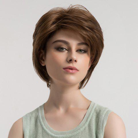 Sale Side Bang Fluffy Short Straight Synthetic Wig - BROWN  Mobile