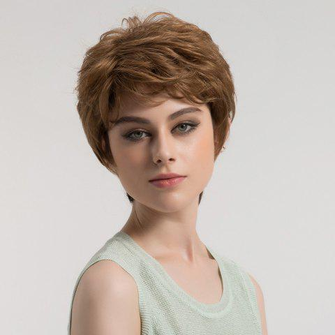 Cheap Short Side Bang Shaggy Layered Textured Slightly Curly Synthetic Wig
