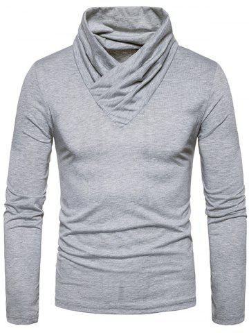 Hot Classical Cowl Neck Long Sleeve T-shirt - S LIGHT GRAY Mobile