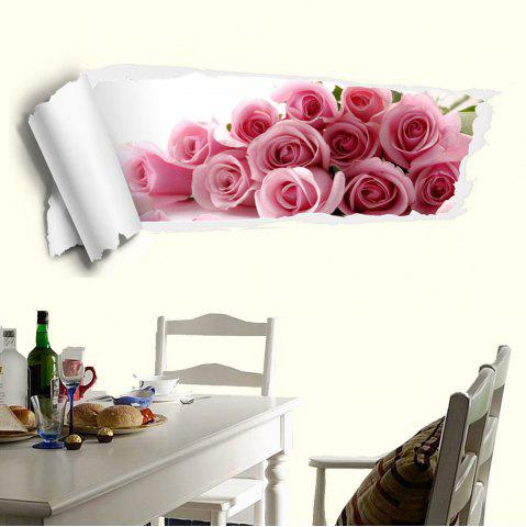 Fashion 3D Rose Removable Wall Decor Sticker PINK