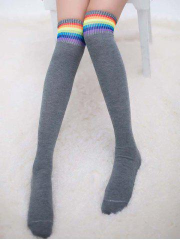 Discount Pair of Rainbow Striped Knee Highs Socks - LIGHT GRAY  Mobile