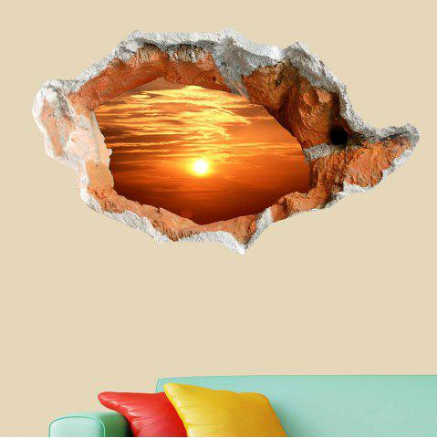 New 3D Hole Sun Landscape Removable Wall Art Sticker - ORANGE  Mobile