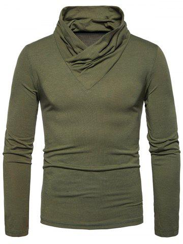 Affordable Classical Cowl Neck Long Sleeve T-shirt - 2XL ARMY GREEN Mobile