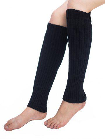 Cheap Vertical Striped Pattern Knitted Leg Warmers BLACK