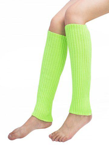 Unique Vertical Striped Pattern Knitted Leg Warmers FLUORESCENT YELLOW