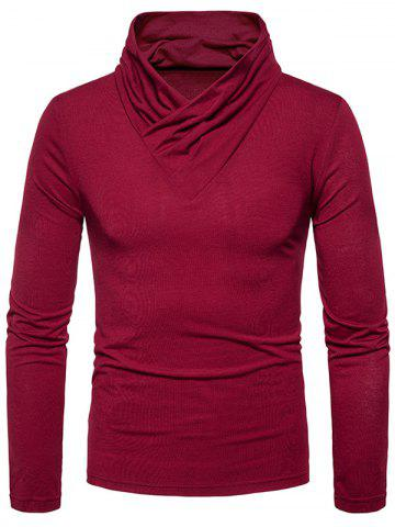 Cheap Classical Cowl Neck Long Sleeve T-shirt WINE RED 2XL