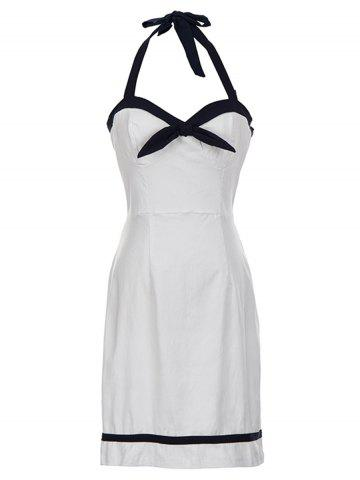 Affordable Bowknot Backless Halter Bodycon Dress - M WHITE Mobile