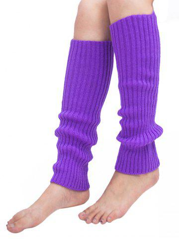 Fancy Vertical Striped Pattern Knitted Leg Warmers - PURPLE  Mobile