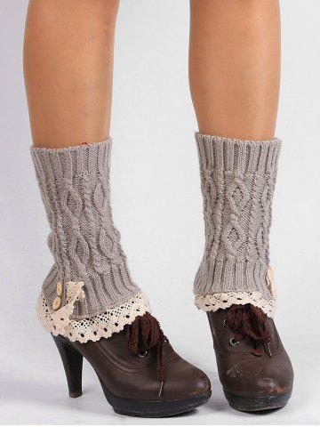 Outfits Lace Edge and Button Embellished Leg Warmers - LIGHT GRAY  Mobile