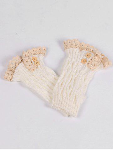 Chic Lace Edge and Button Embellished Leg Warmers