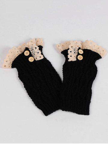 Cheap Lace Edge and Button Embellished Leg Warmers