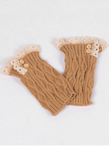 Latest Lace Edge and Button Embellished Leg Warmers CAMEL