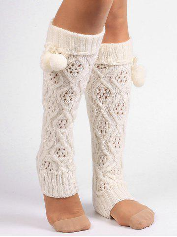 Chic Fuzzy Ball Decorated Hollow Out Knitted Leg Warmers WHITE