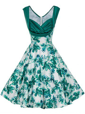 Store Vintage Floral Print Pin Up Skater Dress - L GREEN Mobile