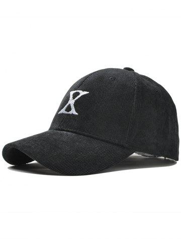 Trendy Outdoor Letter Embroidery Corduroy Baseball Cap BLACK
