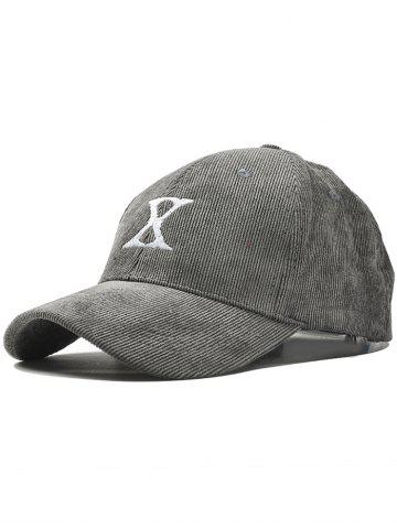 Affordable Outdoor Letter Embroidery Corduroy Baseball Cap - GRAY  Mobile