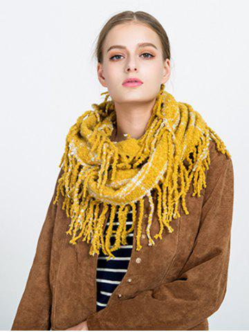 Shop Tassel Plaid Ring Scarf - YELLOW  Mobile