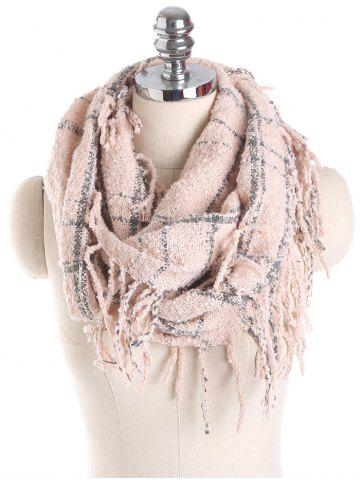 Fancy Tassel Plaid Ring Scarf - PINK  Mobile