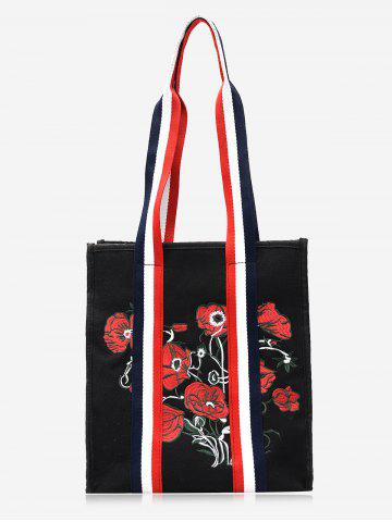 Latest Color Block Striped Embroidery Flower Handbag - BLACK  Mobile