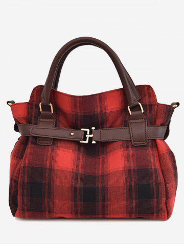 Affordable Buckle Strap Checker Tote Bag - RED  Mobile