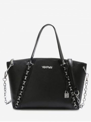 Sale Faux Leather Letter Embellished Chain Shoulder Bag BLACK