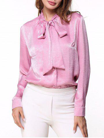 Outfits Long Sleeve Bow Collar Shirt PINK 2XL