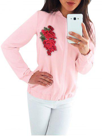 Online Floral Embroidered Zipper Jacket - M PINK Mobile