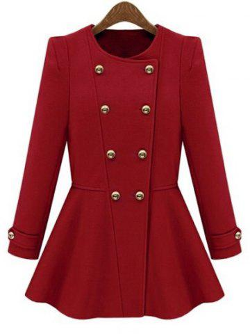 Hot Long Sleeve Button Design Peacoat - L RED Mobile