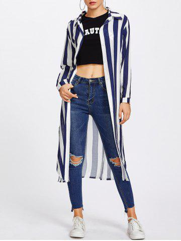 Latest Long Sleeve Striped Duster Coat - M STRIP PATTERN Mobile