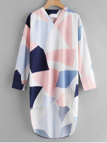 Latest V Neck Geometric Print High Low Shirt - S COLORMIX Mobile
