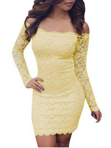 Hot Lace Bodycon Off Shoulder Dress - M YELLOW Mobile