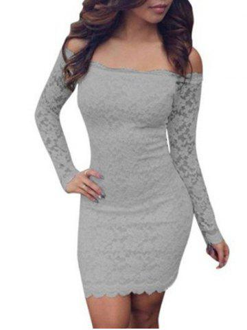 Fancy Lace Bodycon Off Shoulder Dress - S GRAY Mobile