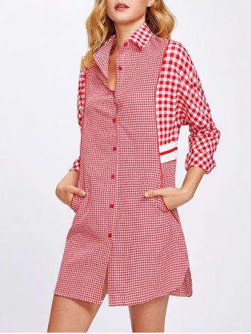 Discount Plaid Button Up Shirt Dress - S RED Mobile