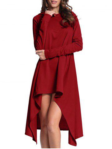 Shop Hooded High Low Midi Dress CLARET XL