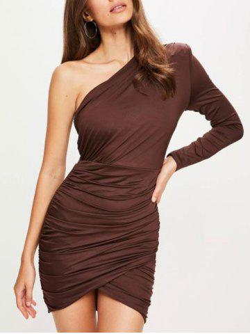 Latest One Shoulder Ruched Bodycon Dress - S COFFEE Mobile
