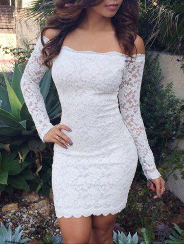 Store Lace Bodycon Off Shoulder Dress - S WHITE Mobile