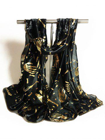 Fancy Gilding Decorated Halloween Scarf - BLACK  Mobile