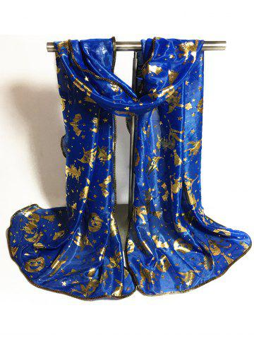 Latest Gilding Decorated Halloween Scarf - BLUE  Mobile