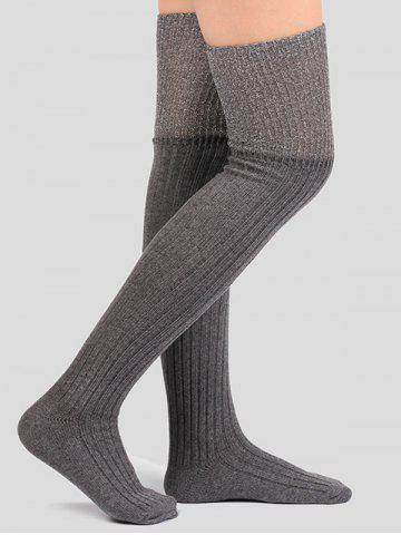 Trendy Ribbed Knitted Plain Stockings