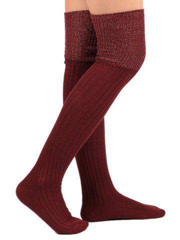 Cheap Ribbed Knitted Plain Stockings - WINE RED  Mobile