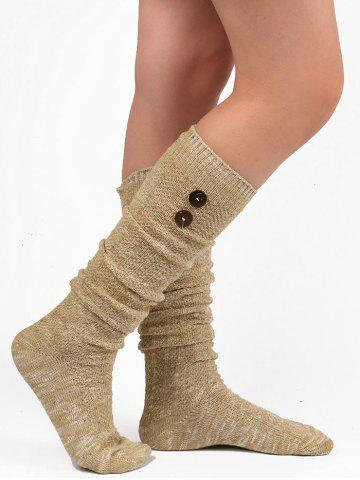 Best Button Knitted Stockings LIGHT KHAKI